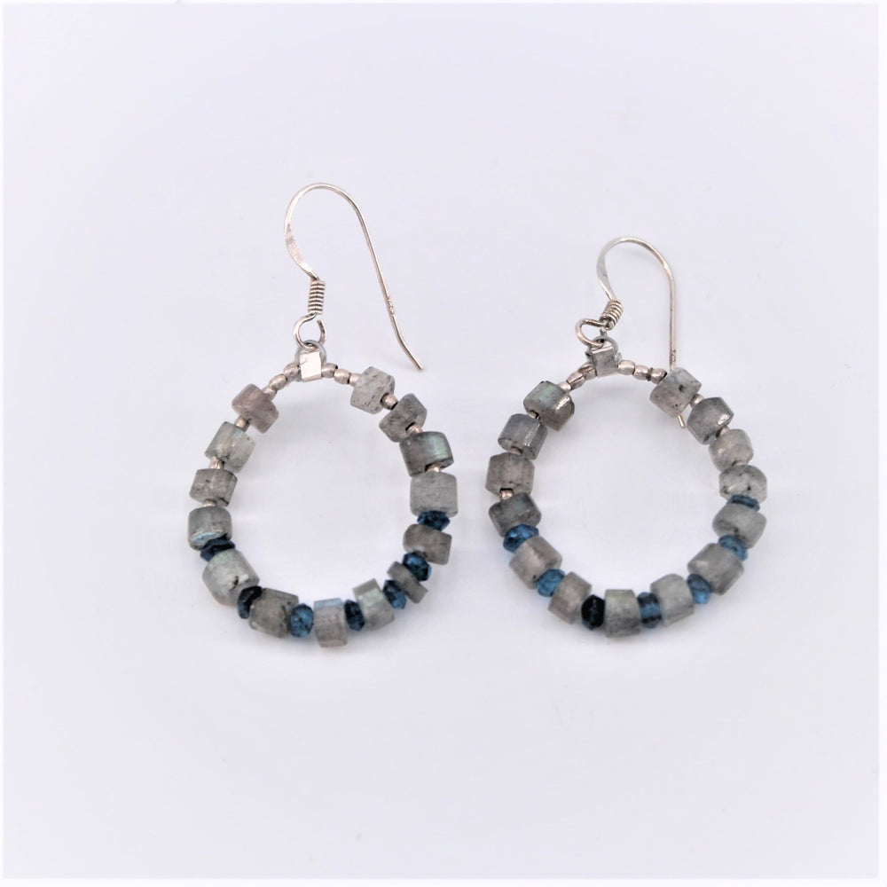 Labradorite Beaded Earrings