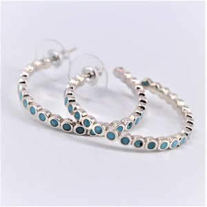 Turquoise Dot Inlay Hoops