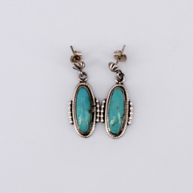 Medium Bezel Sterling Silver & Royston Turquoise Earrings