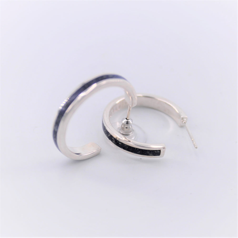 Channel Inlay Hoop Earrings.