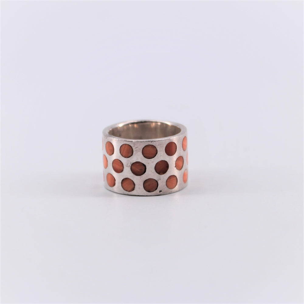 Wide Band Mix Stone Ring