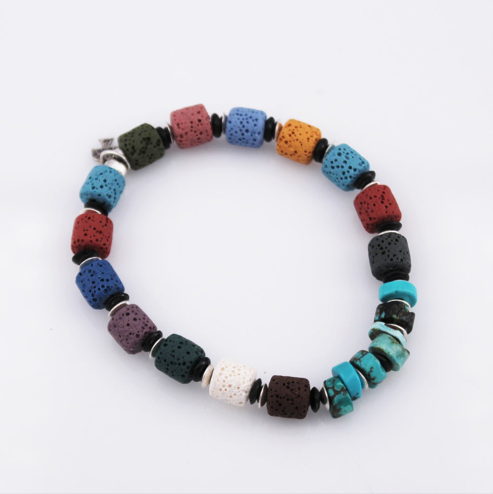 Turquoise and Multi Color Lava Bracelet