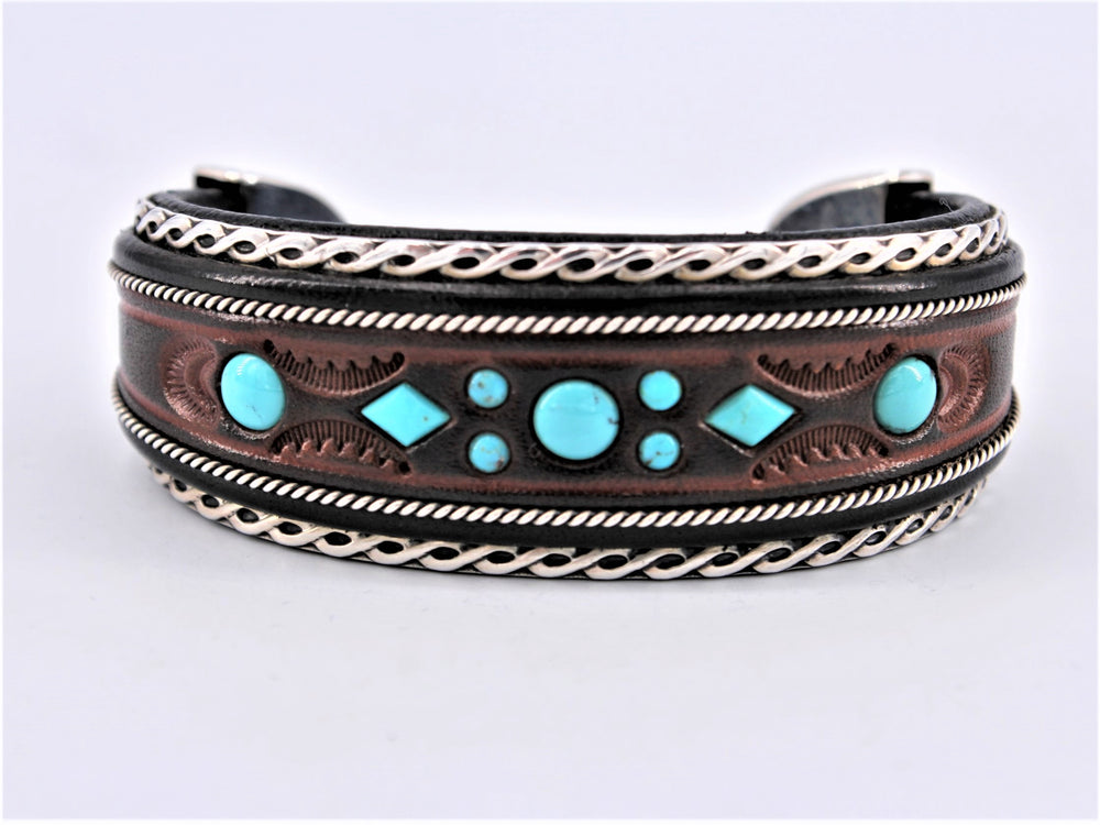 Brown & Black Leather Cuff with Turquoise