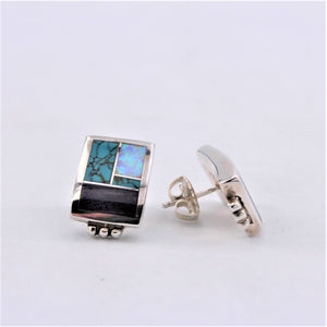 Multi Stone Rectangle Inlay Earrings