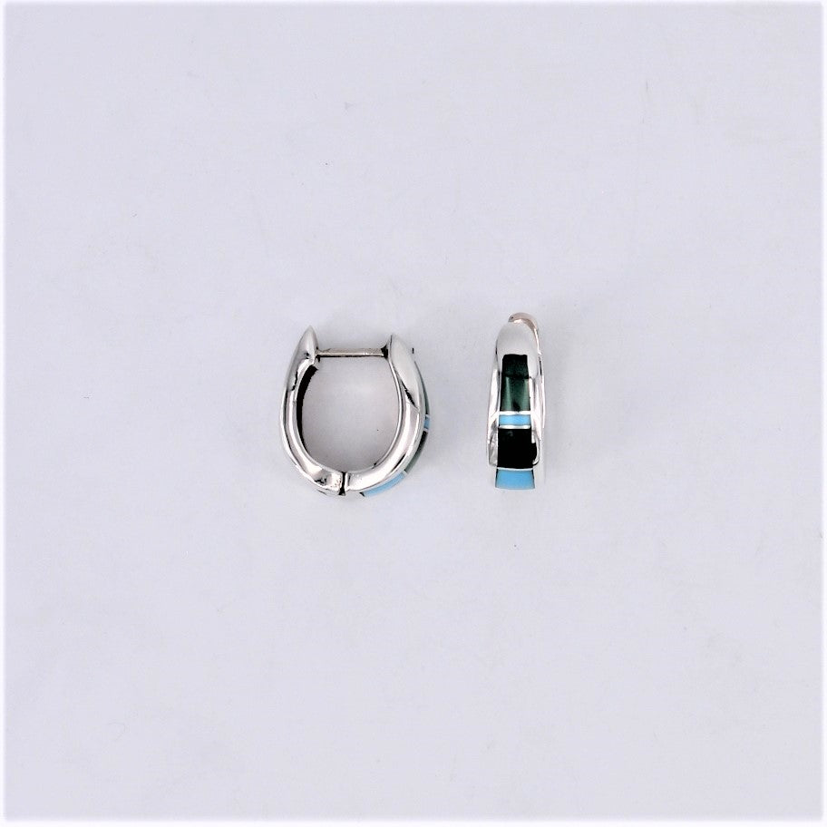 Bicolor Turquoise Inlay Huggie Earrings
