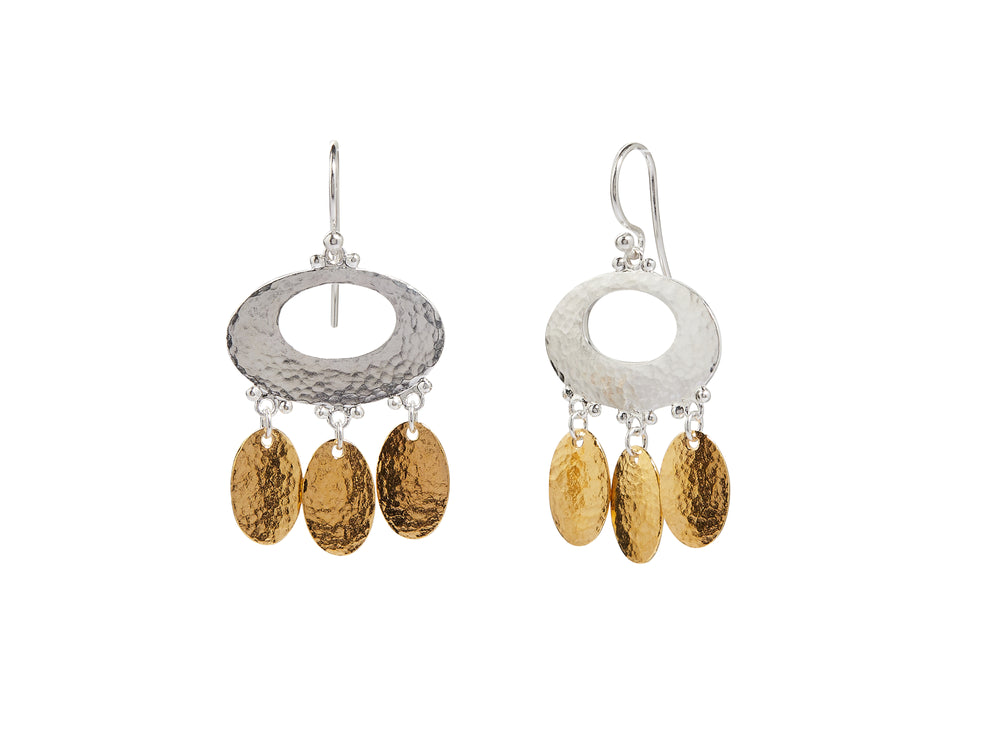 "Mango Silver Earring, Short Chandelier ""kissed"" with 24k gold"
