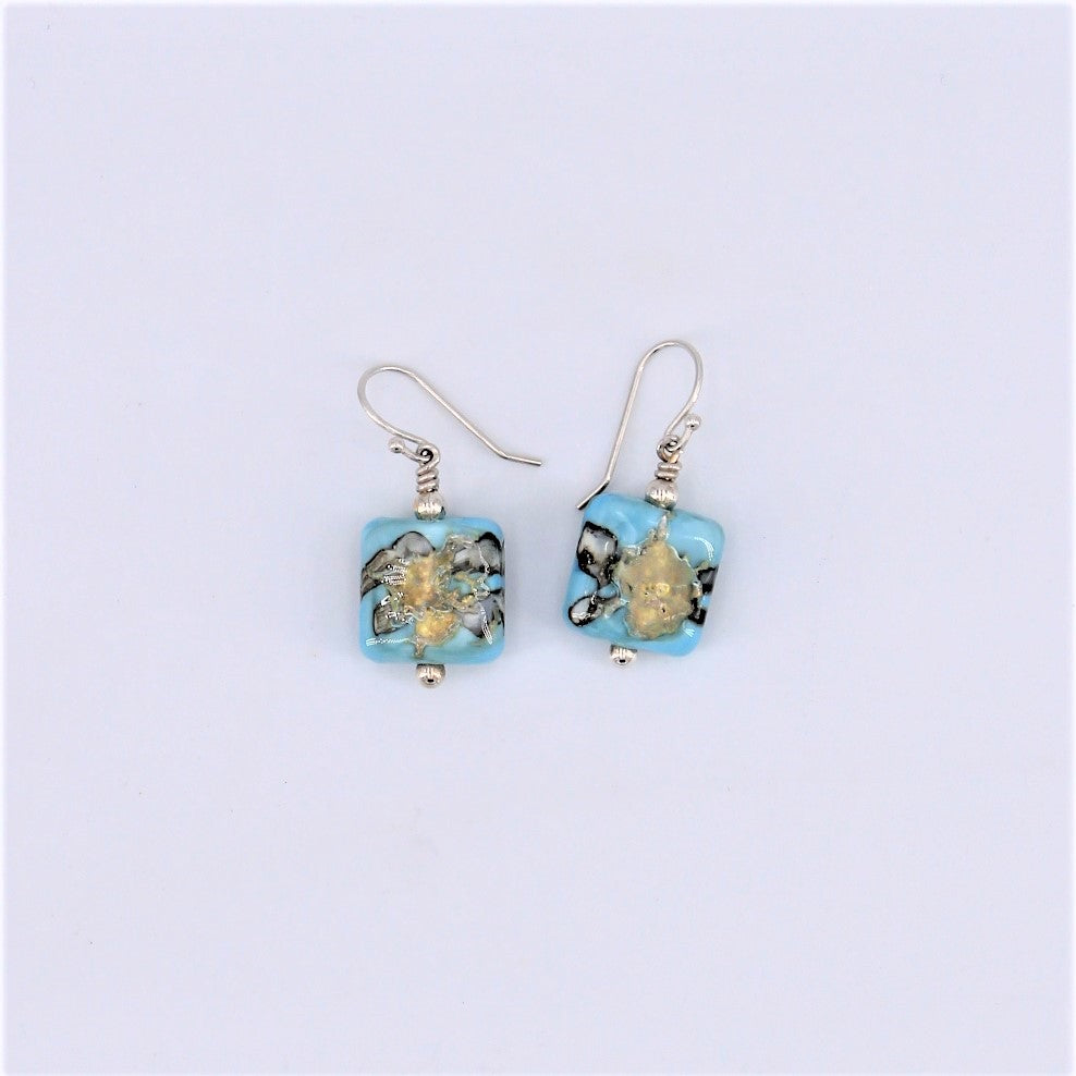Icarus Square Blue Dangle Earrings