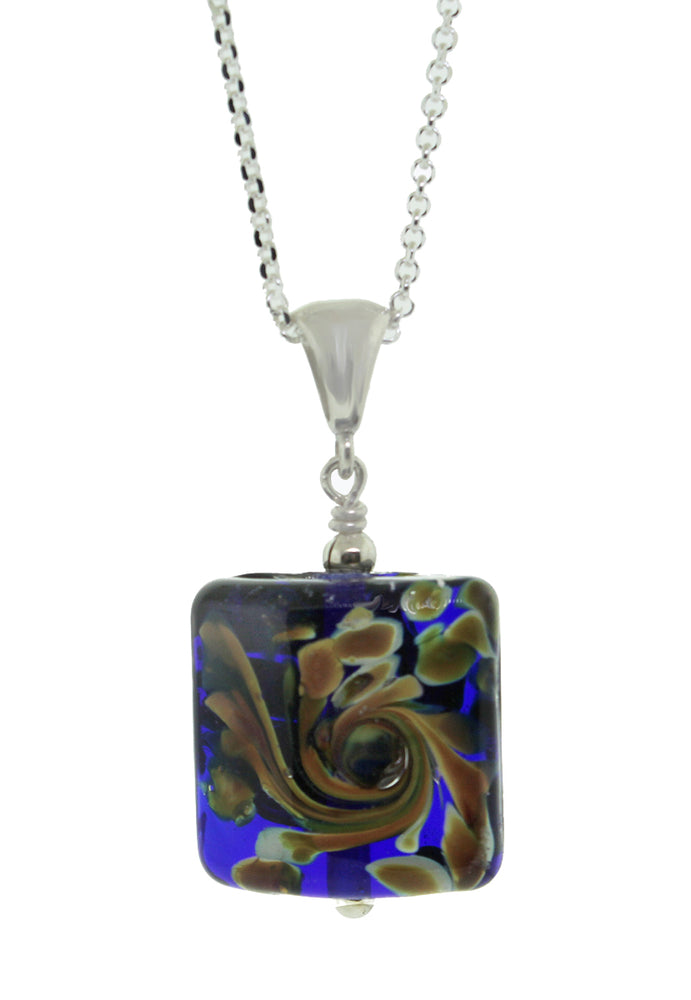 Square Blue Peacock Pendant