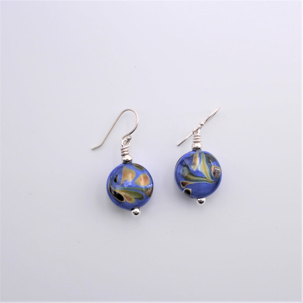 Small Round Peacock Earrings
