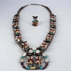 Zuni Owl Inlay Squash Blossom Necklace & Ring Set