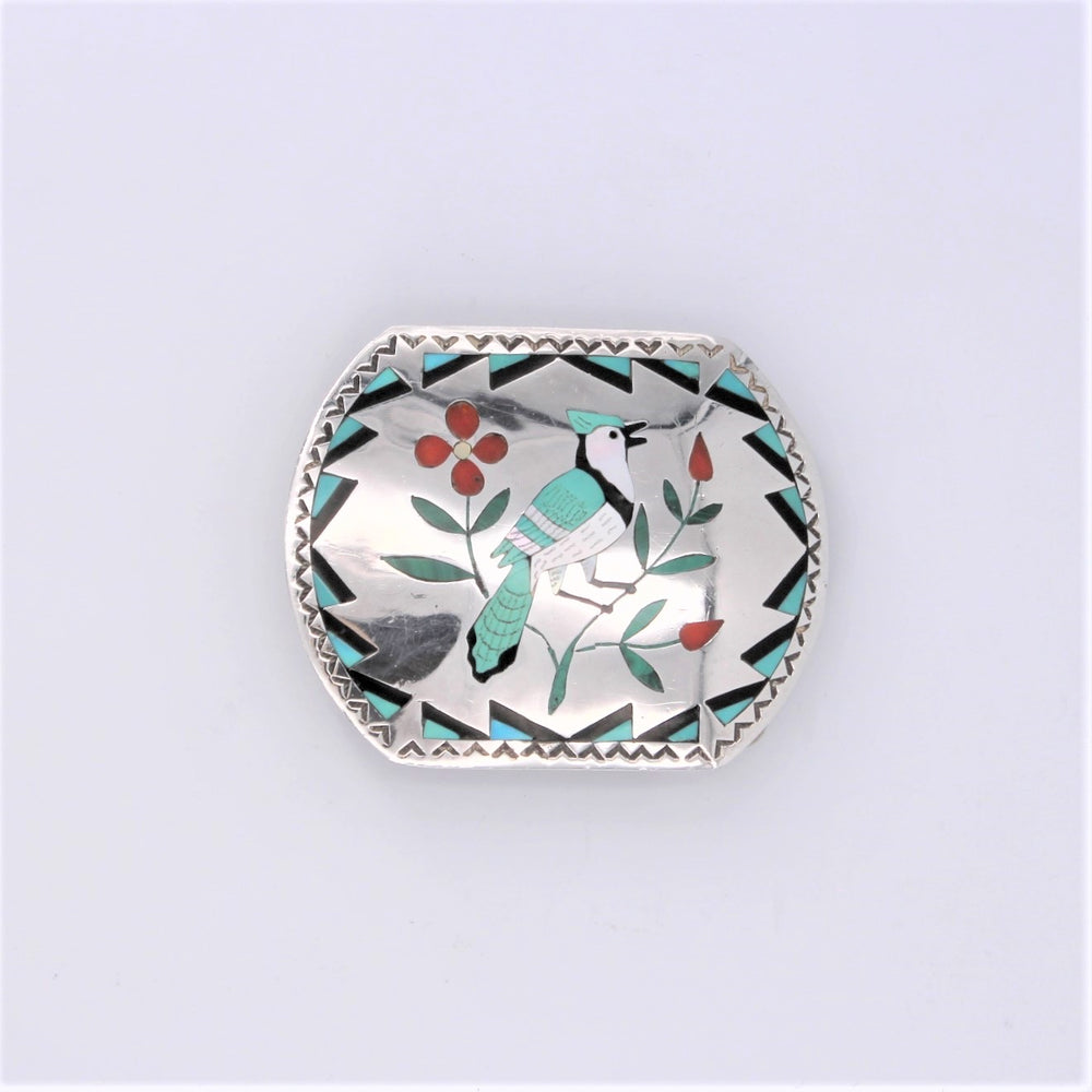 Multi-stone Inlay & Sterling Silver Belt Buckle