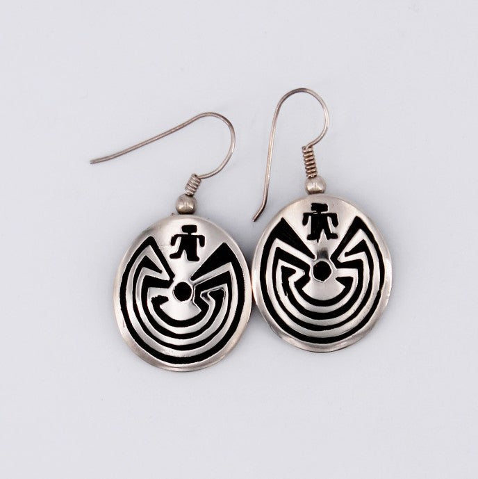 Small Sterling Silver 'Man-in-a-Maze' Overlay Earrings