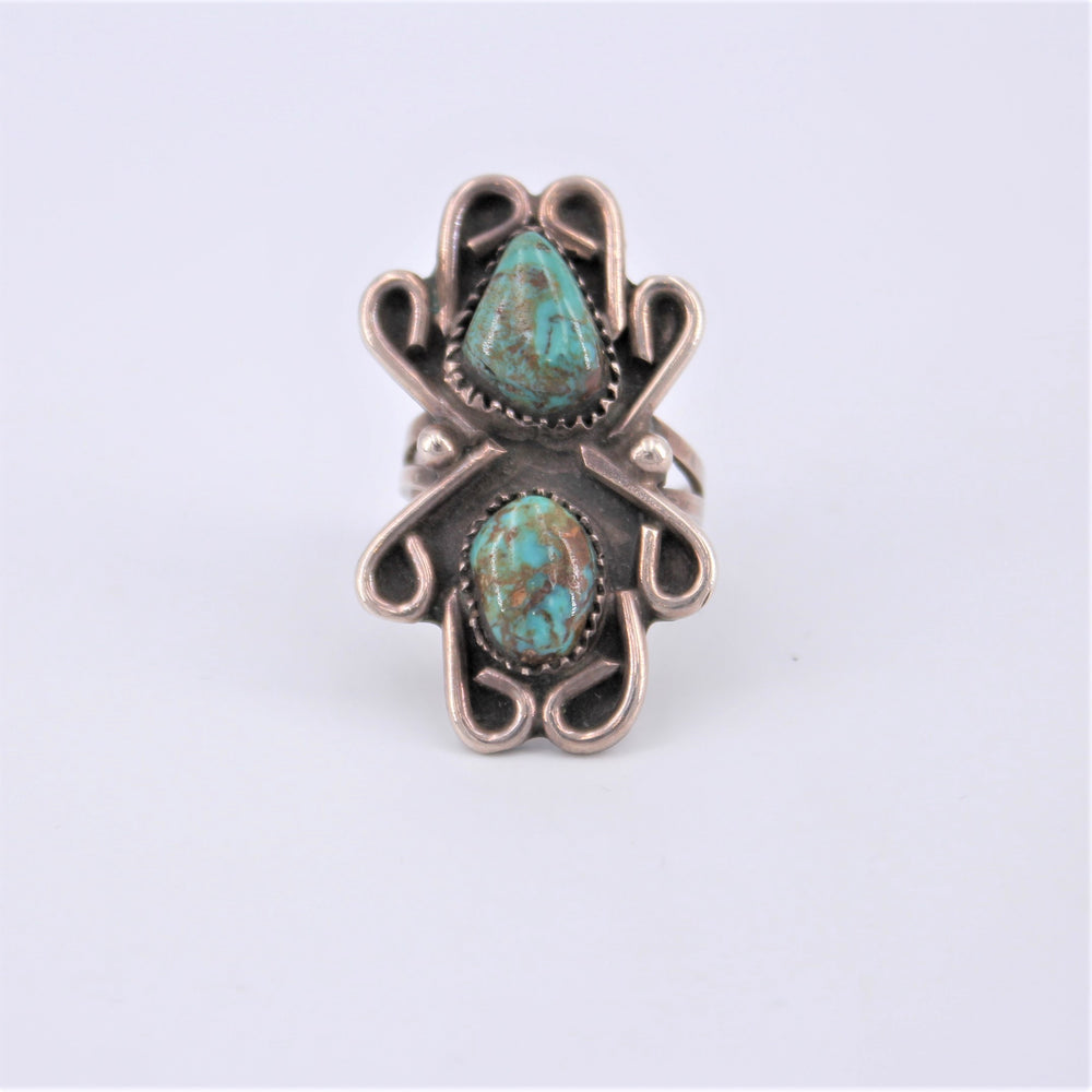 Two Stone Turquoise Ring