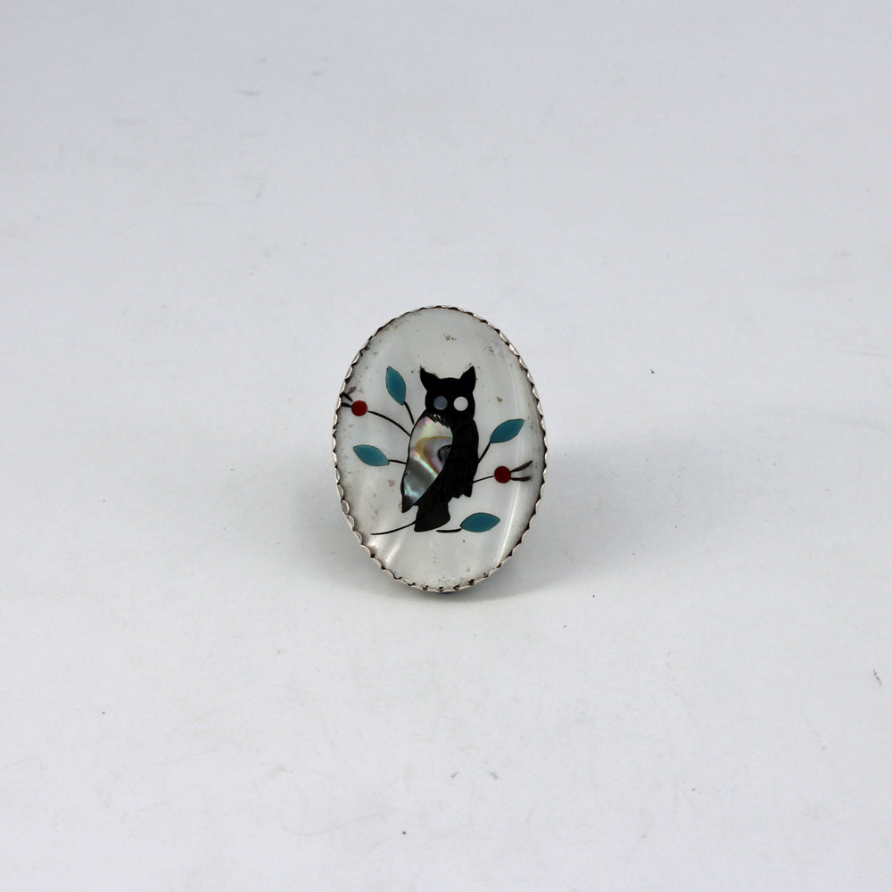 Large Owl Inlay Ring