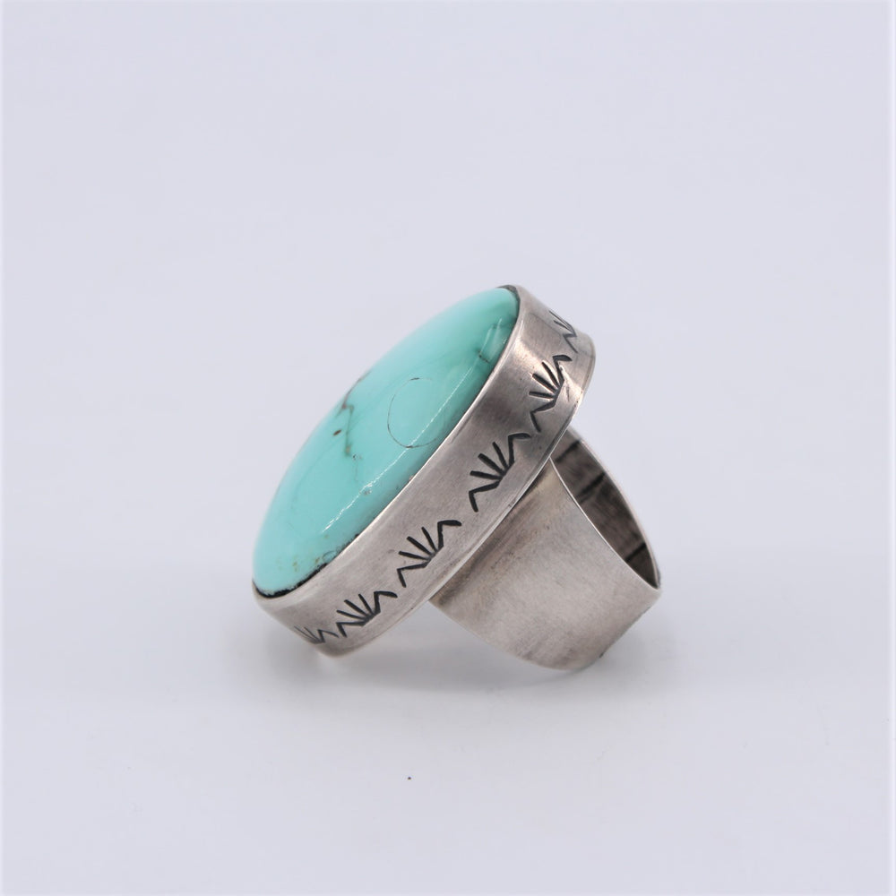 White Horse Fox Turquoise Ring