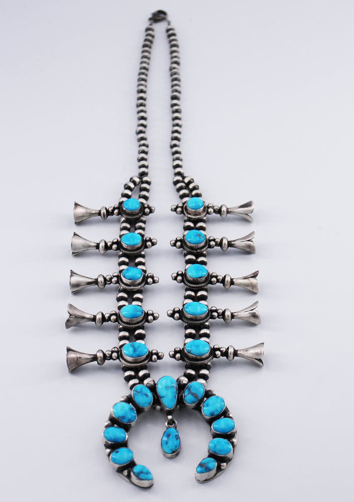 Bea Tom: Sonoran Rose Turquoise Squash Blossom Necklace