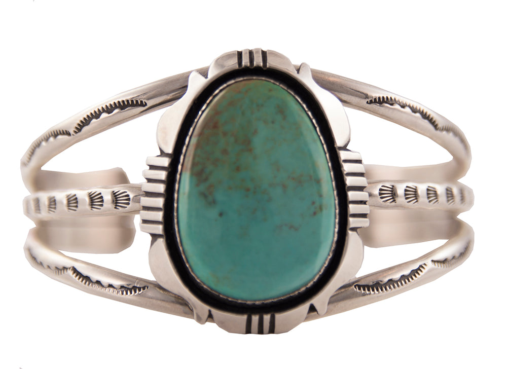 Sterling Silver Turquoise Oval Center Dale Cuff