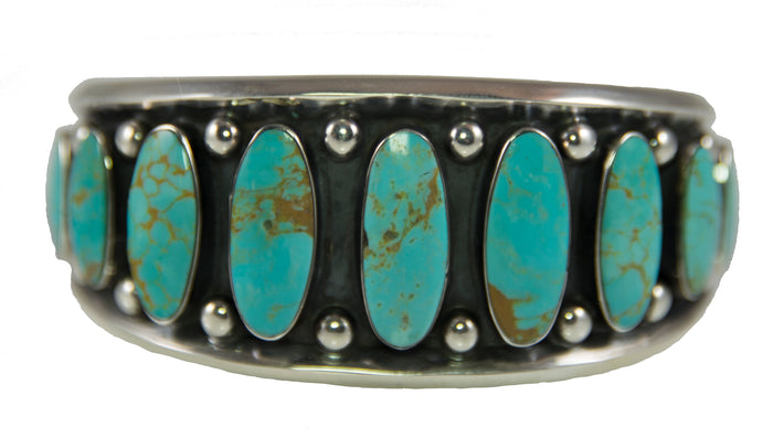 Sterling Silver Turquoise Nine Oval Stone Cuff