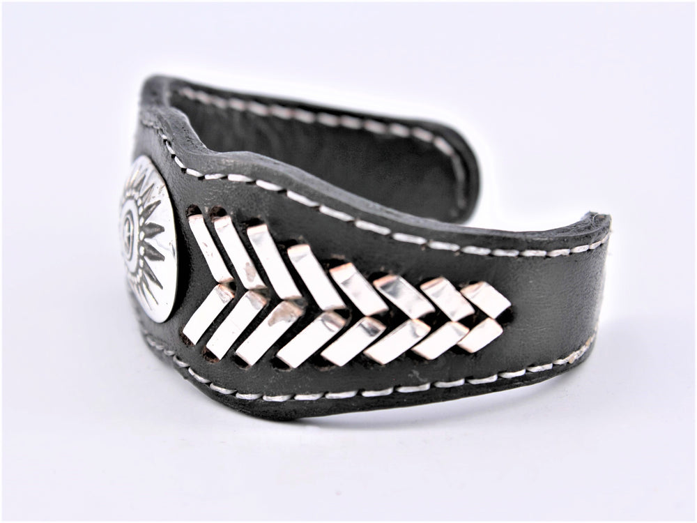 Black Leather & Sterling Silver Cuff