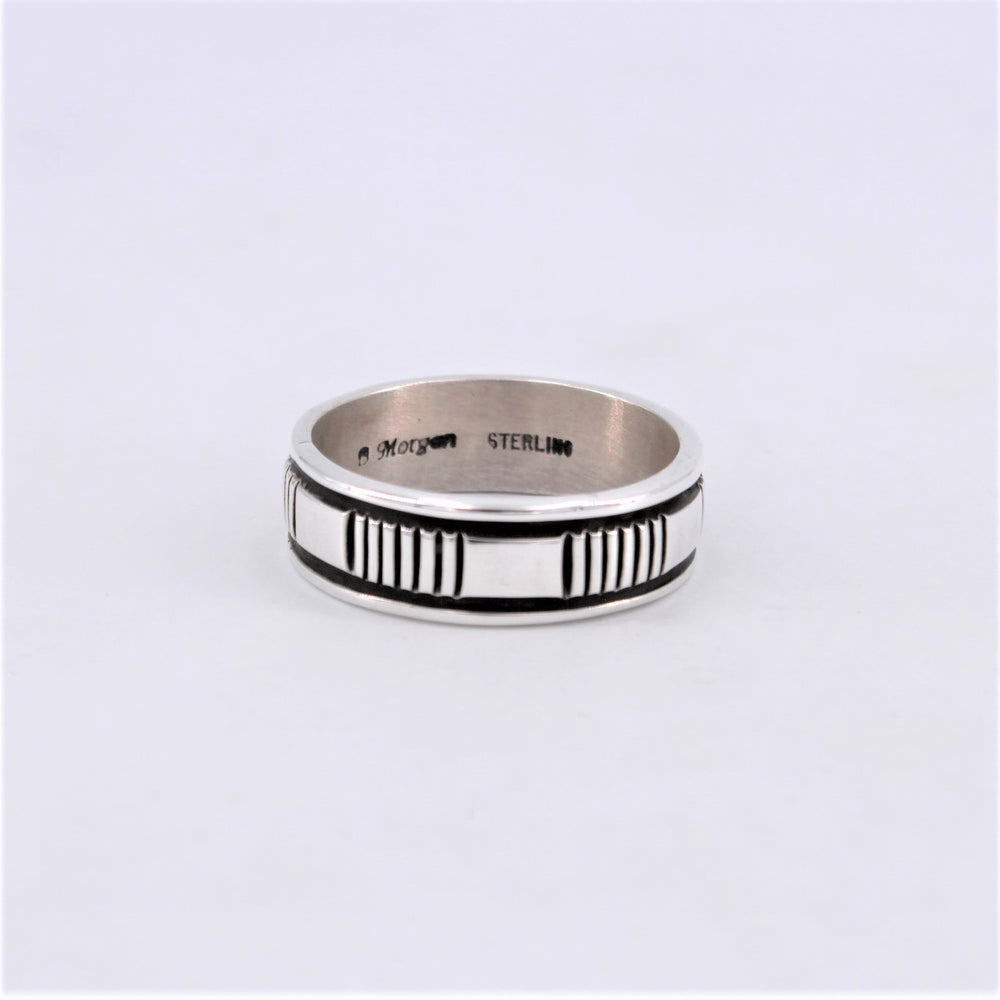 Sterling Silver Ring with Etched Band