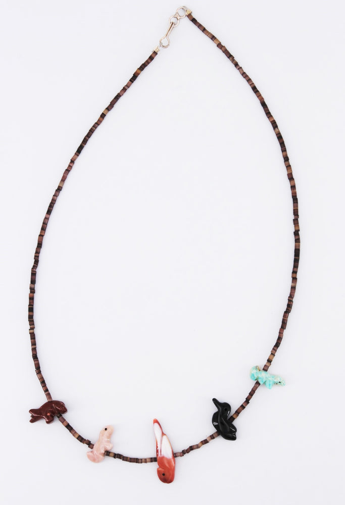5 Zuni Fetishi & Heishi Necklace