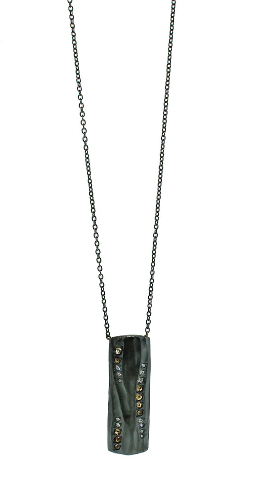 Oxidized Sterling Silver Diamond Necklace