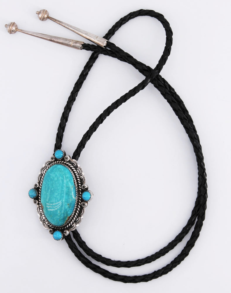 Rope & Stamp Sterling Silver and Turquoise Bolo Tie