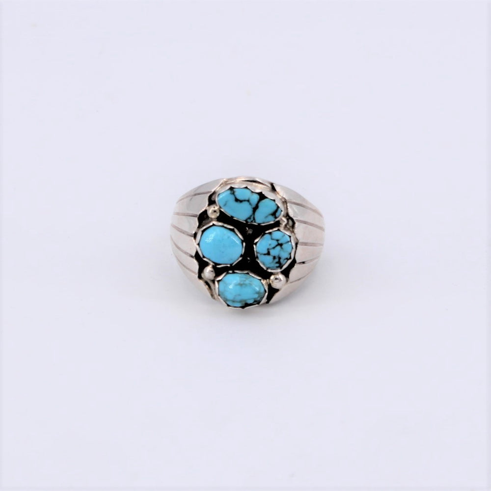 4 Stone Lone Mountain Turquoise Wide Band Ring
