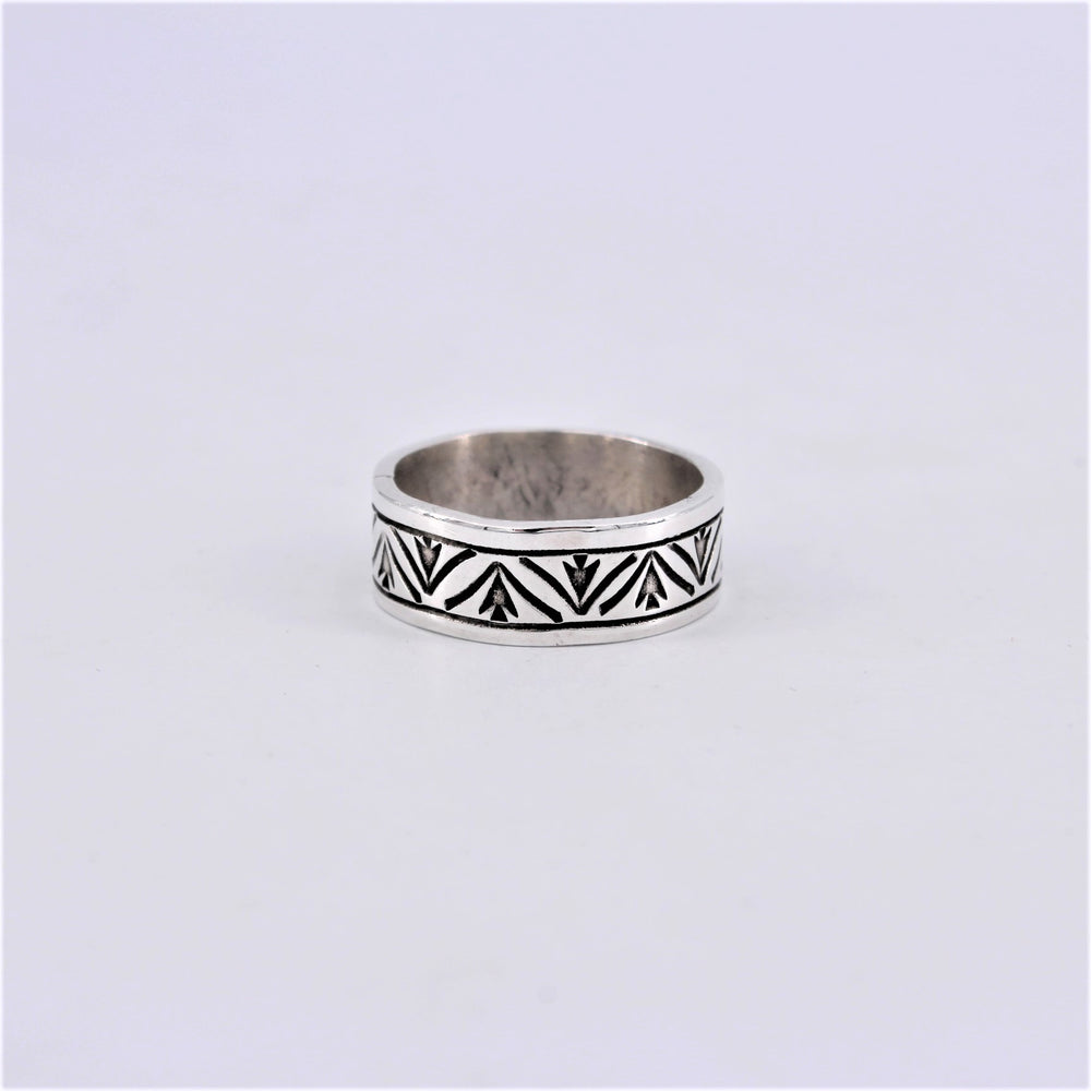 Stamped & Carved Band Sterling Silver Ring