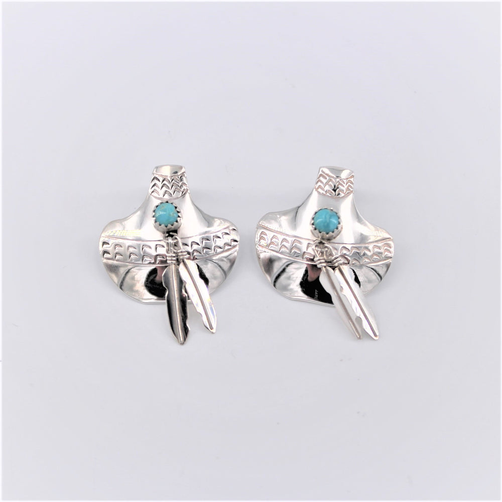 Sterling Silver Feather Earrings w/ Turquoise