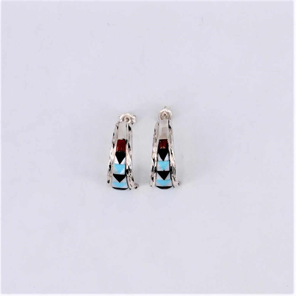 Zuni Inlay Tapered Half Hoop Earring