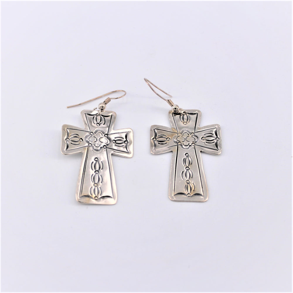 Sterling Silver Stamped Cross Earrings