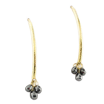 Gold and Black Diamond Briolette Drop Earrings