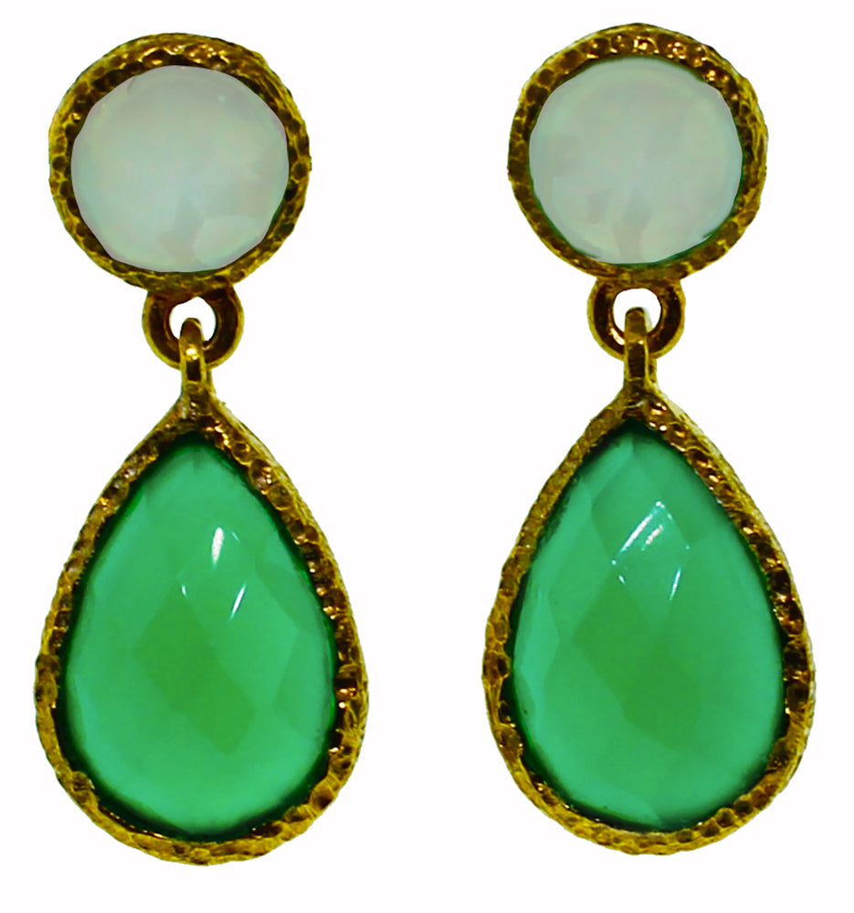 Chalcedony and Green Onyx Earrings