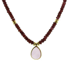 Rose Quartz Garnet Necklace