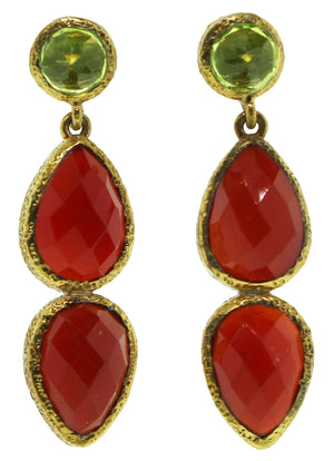 Peridot and Carnelian Earrings