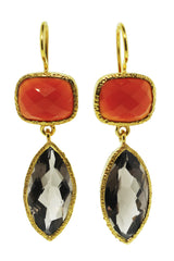 Carnelian and Smoky Quartz Earrings