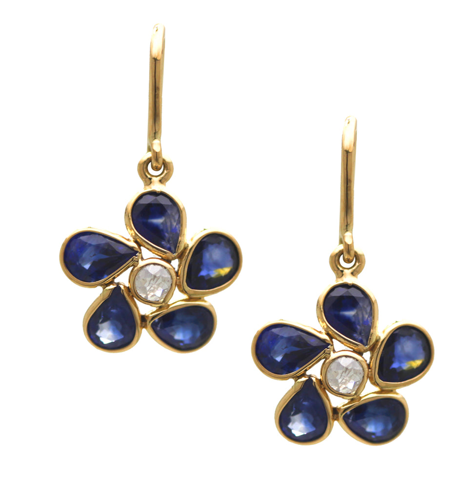 Sapphire and Diamond Flower Earrings