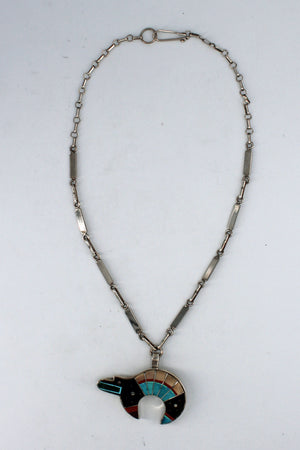 H. Smith: Zuni Multi Inlay Bear Necklace