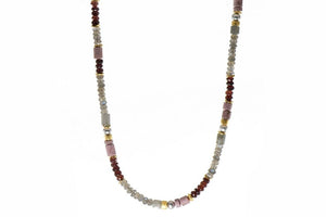 Labradorite, Garnet, Rhodonite, & Grey Pearl Necklace