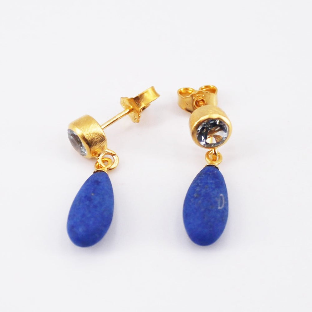 Lapis and Topaz Earrings