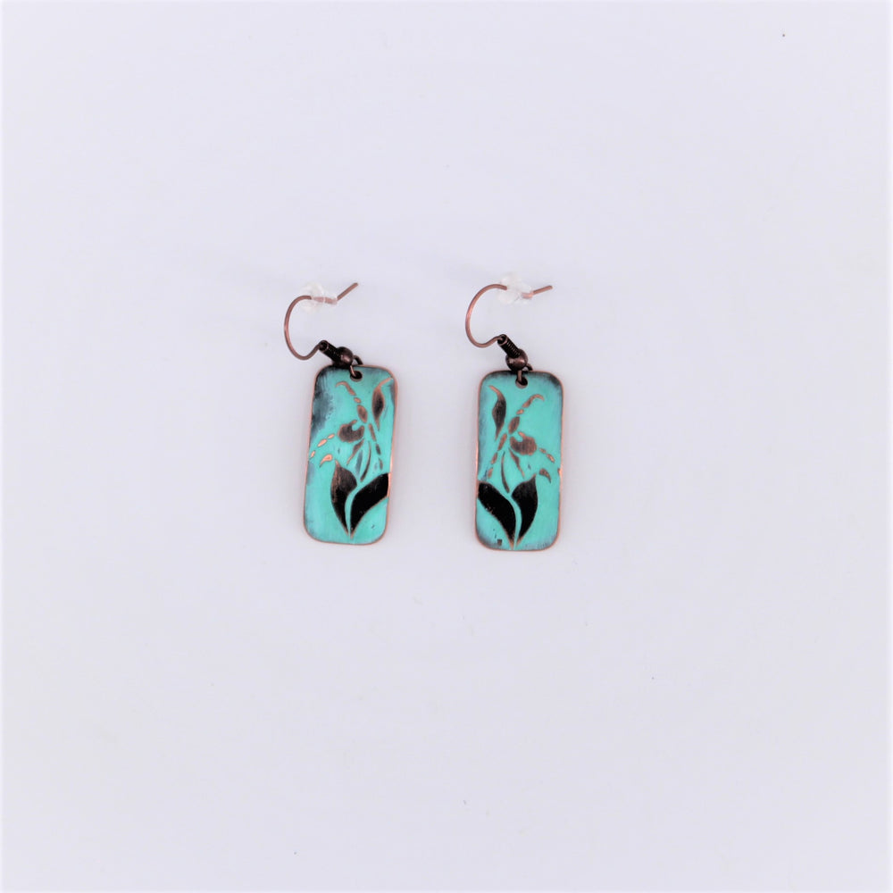 Lady Slipper Copper Earring