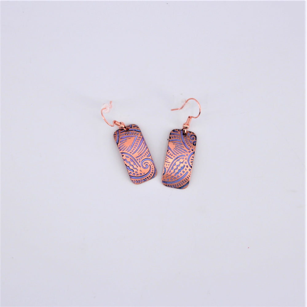 Abstract Purple Patina Copper Earrings