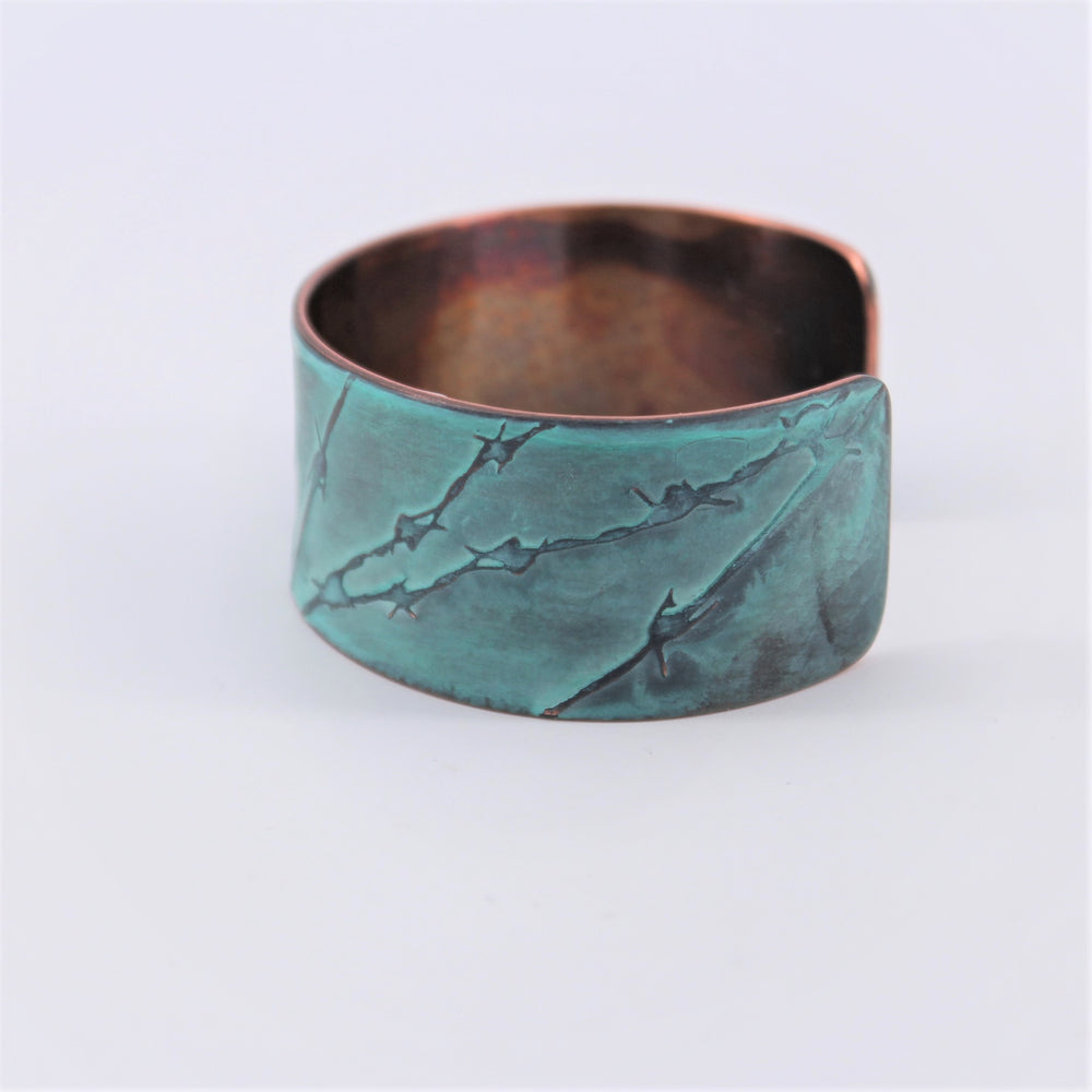 Bird on Barbed Wire Copper Cuff