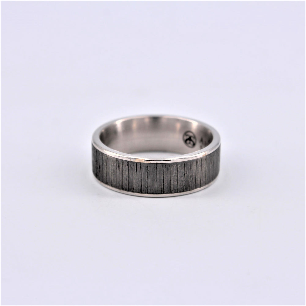 Wood Texture White Tantalum Ring