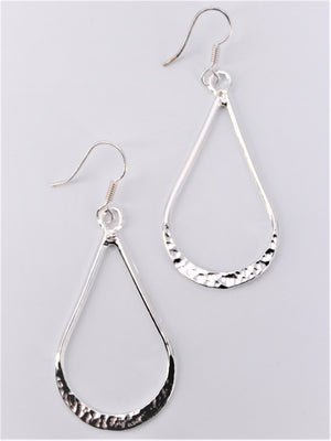 Hammered Teardrop Dangle Earrings