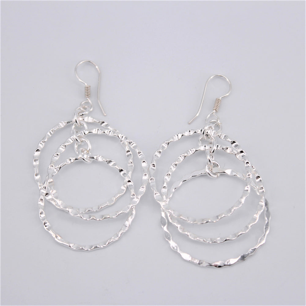 Triple Hammer Circle Earrings
