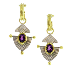 Silver And Gold Amethyst Drop Earrings