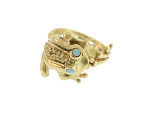 FROG RING WITH OPAL EYES