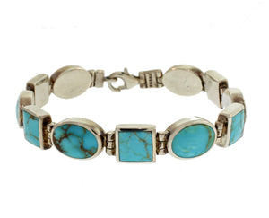 SQUARE AND ROUND LINK TURQUOISE BRACELET